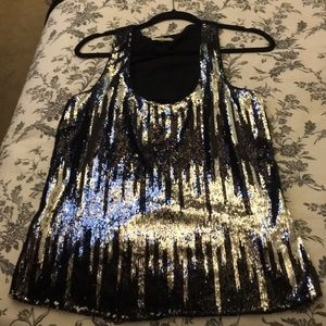 Tops - Silver Sequin Sleeveless blouse large